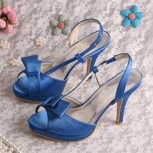 สง่างามสีฟ้าพรหมรองเท้าฤดูร้อนผู้หญิงรองเท้าแตะสำหรับงานแต่งงาน