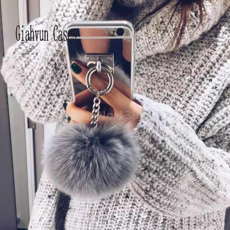 Mirror Tassel soft fluffy warm Fake Rabbit Fur pompom For