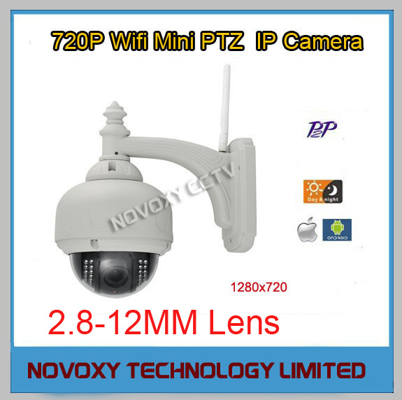 Free shipping H.264/720P/IR-CUT WIFI PTZ cctv ip camera Outdoor Waterproof Dome IP Camera 2.8-12mm Zoom 2 8 12mm waterproof array ir ip bullet camera 720p 4x auto zoom h 264 1mp audio