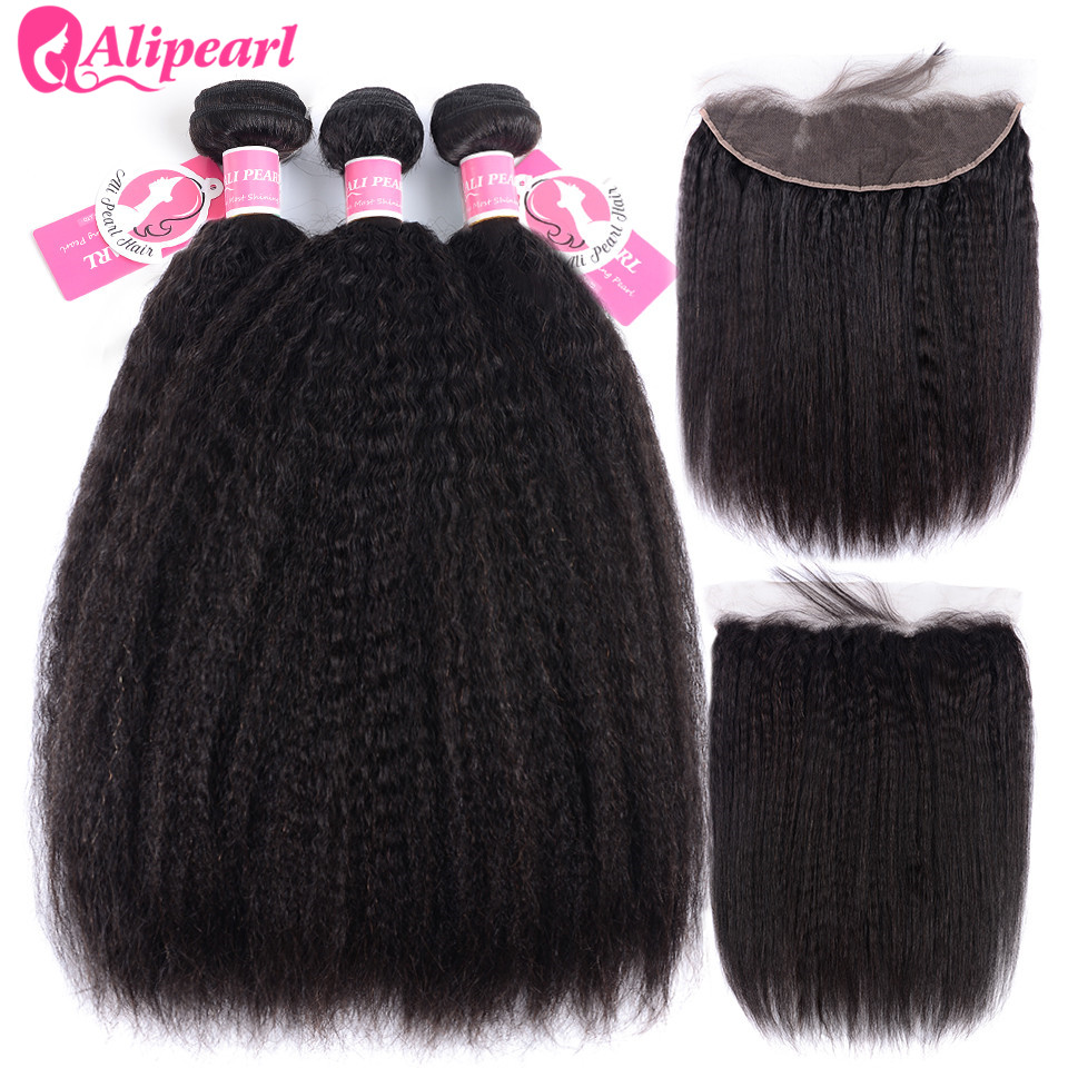 Careful Alipearl Kinky Straight Hair Bundles With Frontal Closure Brazilian Yaki Human Hair Bundles With Frontal 13x4 Freepart Remy Hair Hair Extensions & Wigs