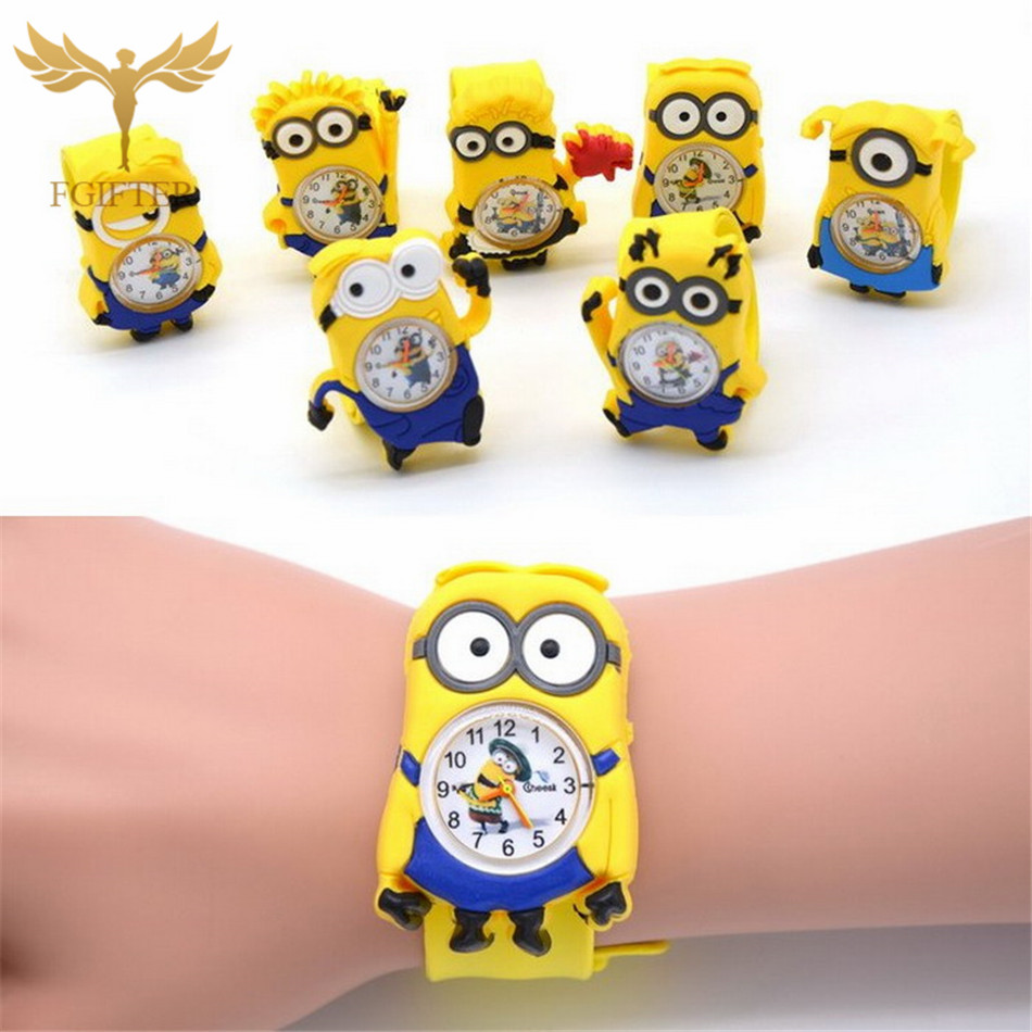 купить 3D Eye Despicable Me Cartoon watch Precious Milk Dad Cute Children clock Baby kid Quartz Wrist Watches for Girls Boys онлайн
