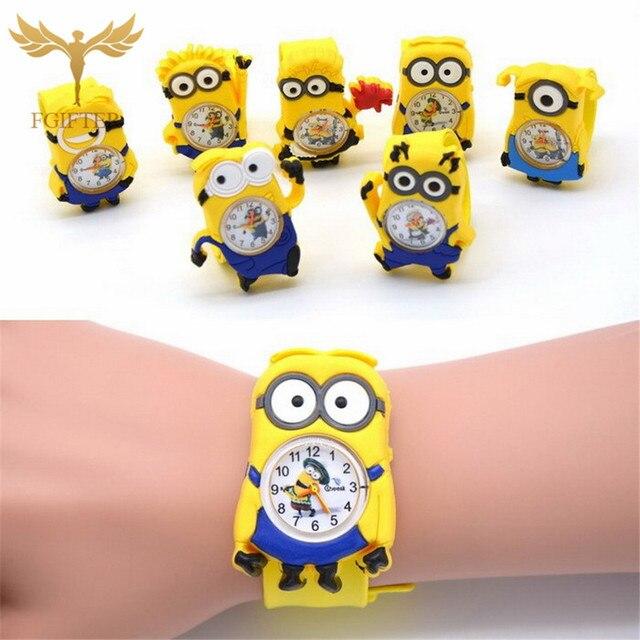 3D Eye Despicable Me Cartoon watch Precious Milk Dad Cute Children clock Baby kid Quartz Wrist Watches for Girls Boys