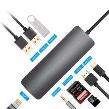 DZLST USB C HUB to HDMI RJ45 Gigabit Ethernet Type C PD Charging 4K Video Audio For Macbook DELL Galaxy S9+/S8 9 in 1 USB Hub 2017 hot usb c usb3 1 type c to ultra hdmi 4k usb hub otg gigabit ethnernet rj45