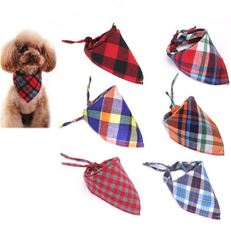 100PC Lot Cotton Plaid Dog Bandanas Pet Dog Bibs Scarves Puppy Dog Bowties Collar Pet Grooming