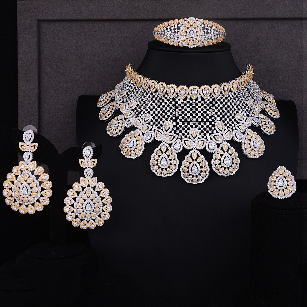 GODKI Luxury Water Drop Cubic Zirconium Earring Necklace Set Dubai Silver Jewelry Sets For Women Indian Nigerian jewelry Sets be8 luxury red water drop pendant jewelry set for women 5 colors bohemia necklace earring sets bridal dress accessories s 024