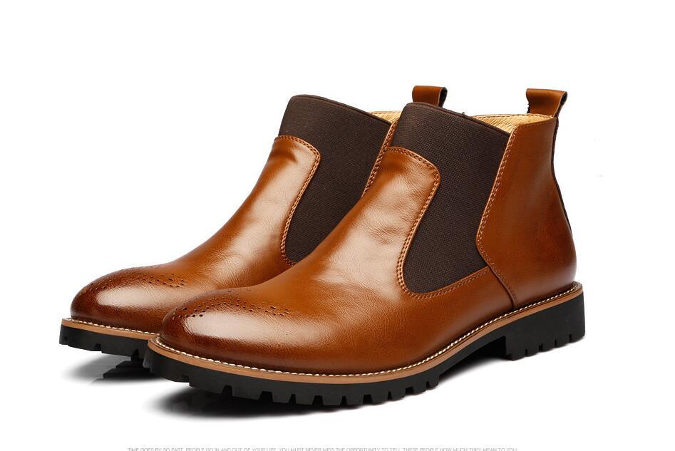 vermelho red Villus Confortável Da marrom Homens Couro Casuais Moda E black Qualidade Villus Alta 2019 brown Sapatos Britânicos Botas Respirável Dos Villus Preto De g1xB6q6w