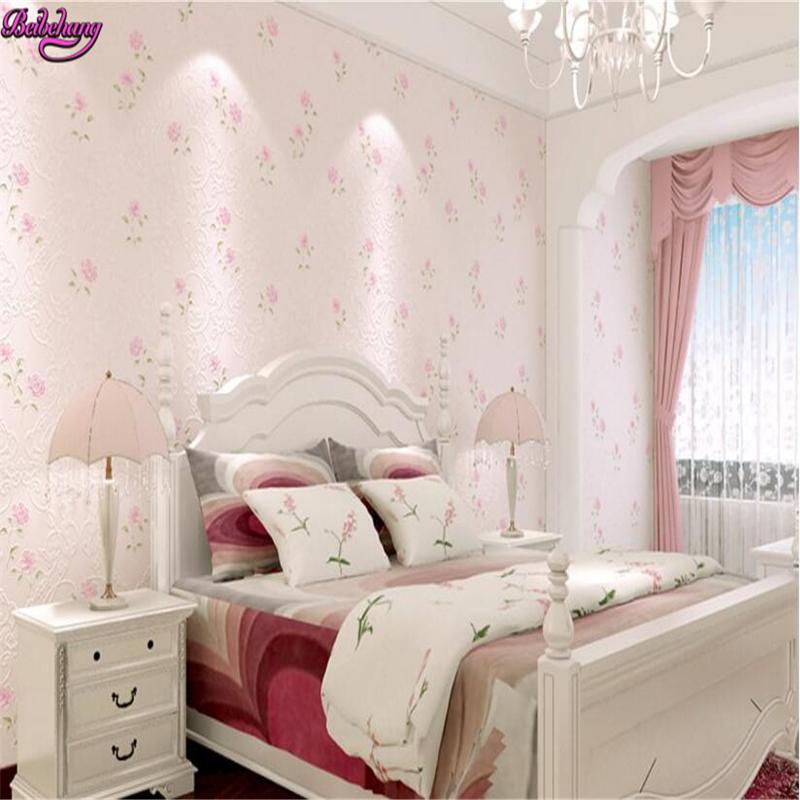 Beibehang Wallpaper Für Wände 3 D Vliesstoffe Wallpaper Koreanisch Lila  Pink Floral Warmen Pastoralen Kleine Frische Wand Papel .