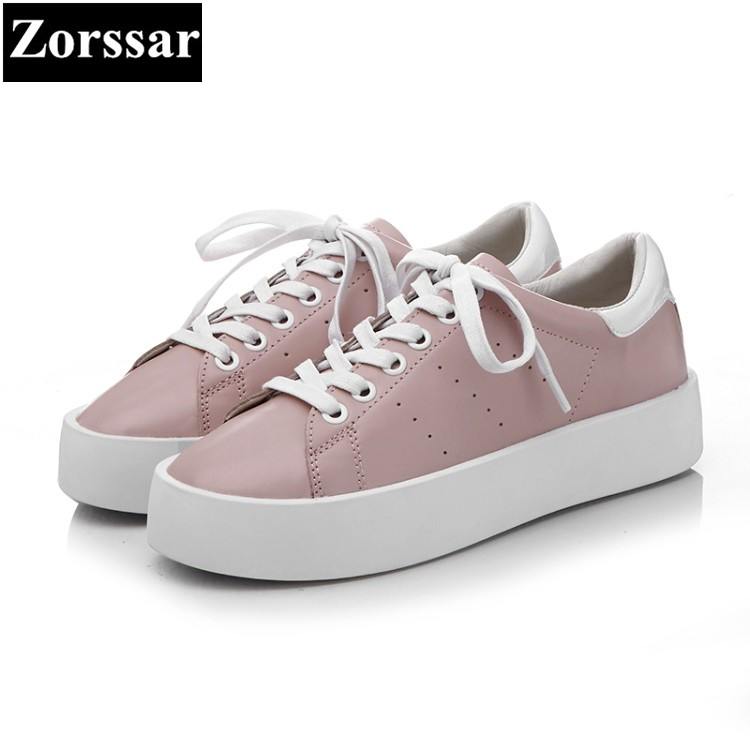 {Zorssar} 2017NEW Fashion leather Breathable Womens Casual shoes Flat White shoes Lace Up Leisure Walking Women sneakers shoes 2017 new spring imported leather men s shoes white eather shoes breathable sneaker fashion men casual shoes