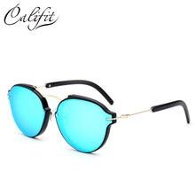 CALIFIT Estilo Oval Óculos de Sol Azuis do Espelho Original Do Sexo  Feminino Marca de Luxo Designer Shades UV400 Lente 2018 Ócul. e6f4bd64a9