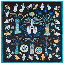 POBING Silk Scarf Women Monster eyes Print Silk Foulard Female Neckerchief Small
