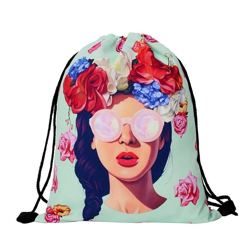 Mutilcolor Fashion School Drawstring notebook Bag Shoe Backpack girl prints women solid drawstring bags bolsa cordones