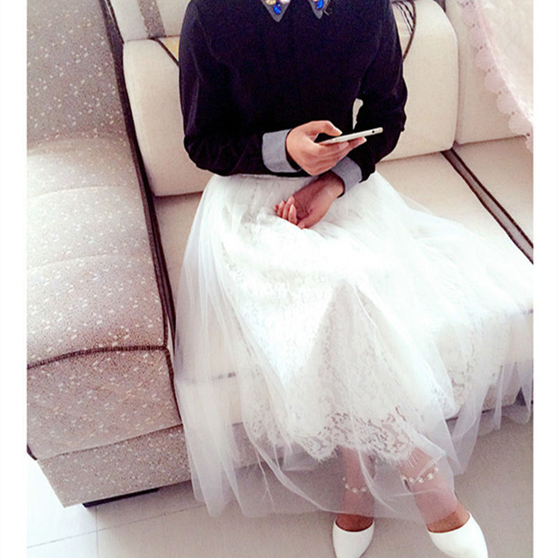 2018 Hod Sale Summer New Preppy Style Fashion Casual High Waist Women Solid Ball Gown Lace Ankle-Length Empire Skirt Clothing