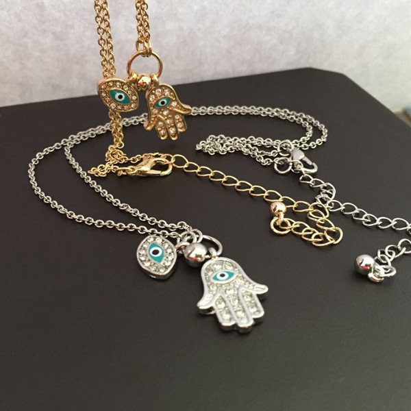 HAMSA necklace druzy rock crystal ballchain hand of fatima