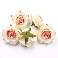 5 Pcs 10cm Lifelike Non Woven Fabric Pink Artificial Bouquets For Wreath DIY Gift Box Scrapbooking Flowers False For Wedding Dec(China)