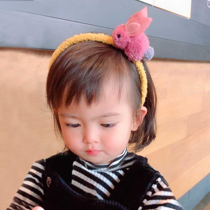 Цельнокроеное платье Новое Детское платье с милым кроликом; ободок для волос; головные уборы заколки для волос с фигурками животных плюшевый кролик уши заколки для волос аксессуары для волос