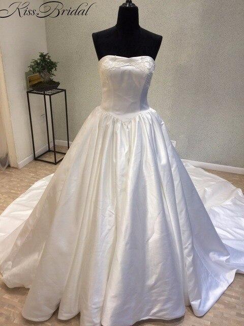 Simple Elegant A line Wedding Dress 2018 Strapless Statin Bride ...
