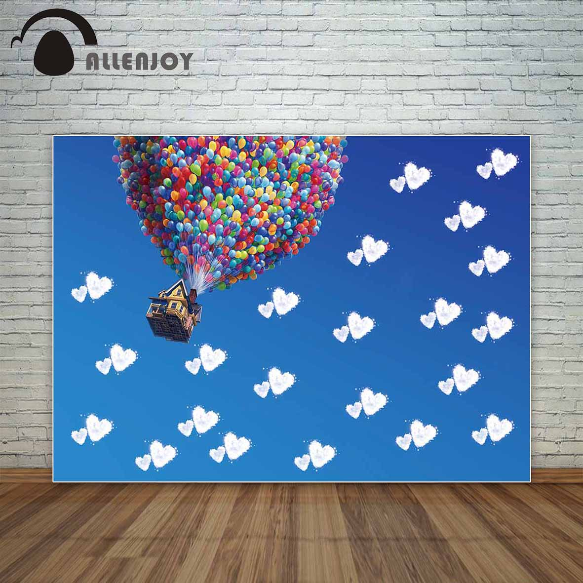 Allenjoy photo background wedding backgrounds balloon house cloud sky heart party backdrop new born photography for photo studio