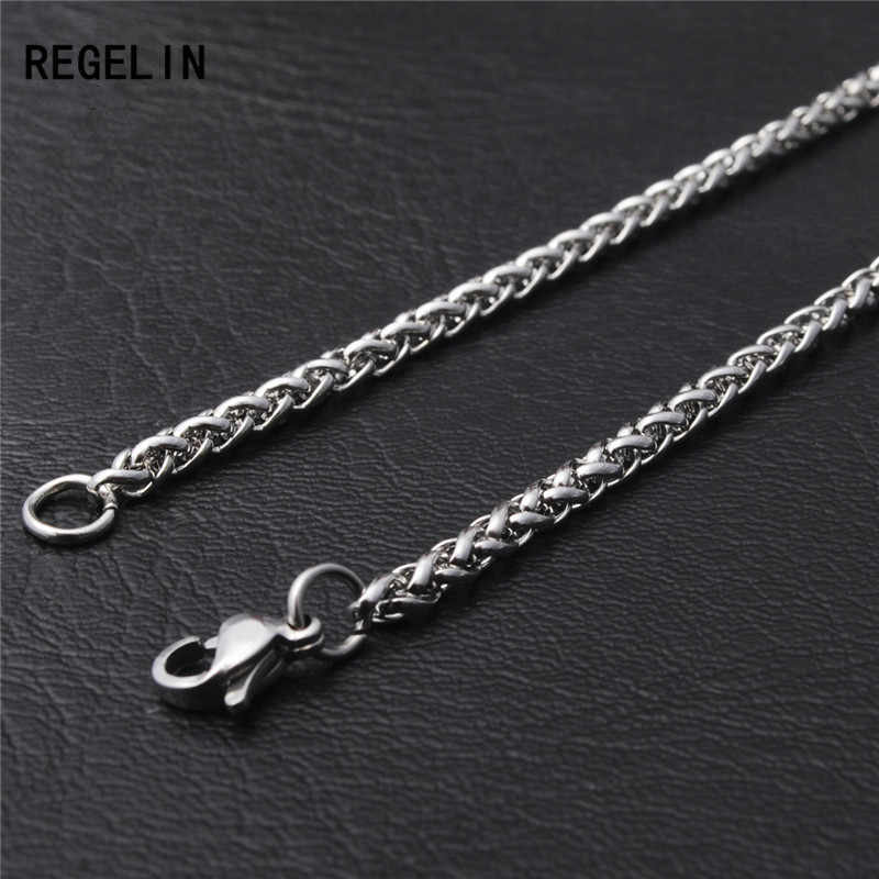 REGELIN New 50/60/70/80cm Length Stainless Steel Chain Lobster Clasps Simple Chains Necklace for Men Party