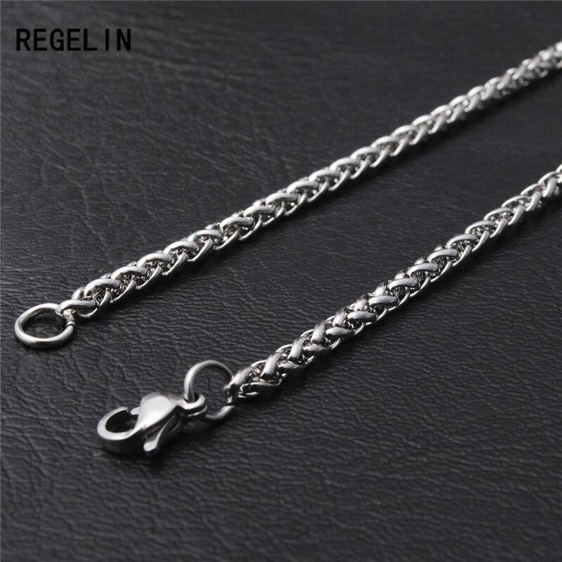 REGELIN Novo 50/60/70/80 cm Comprimento da Cadeia do Aço Inoxidável Lagosta Fechos Simples Chains Colar para homens Do Partido