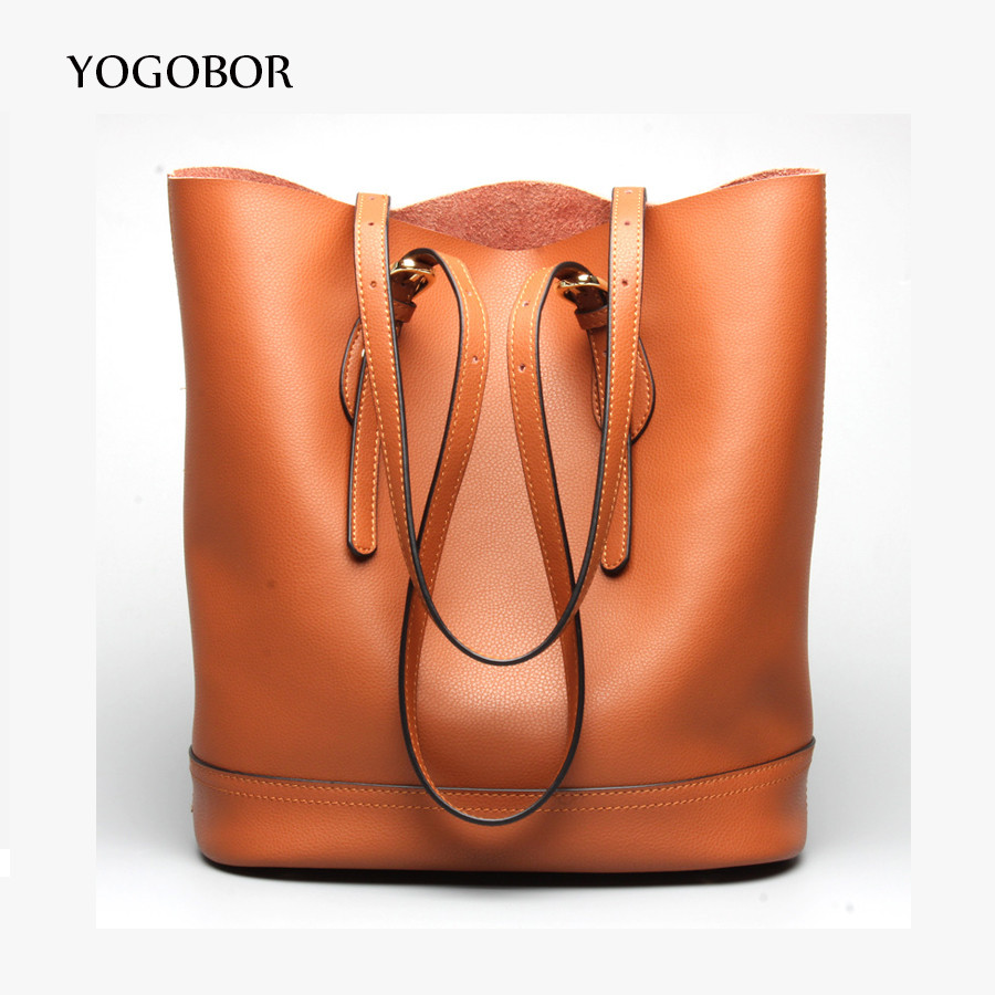 ФОТО YOGOBOR 2017 High Quality Leather Women Bag Bucket Shoulder Bags Solid Big Handbag Large Capacity Top-handle Bags New Arrivals