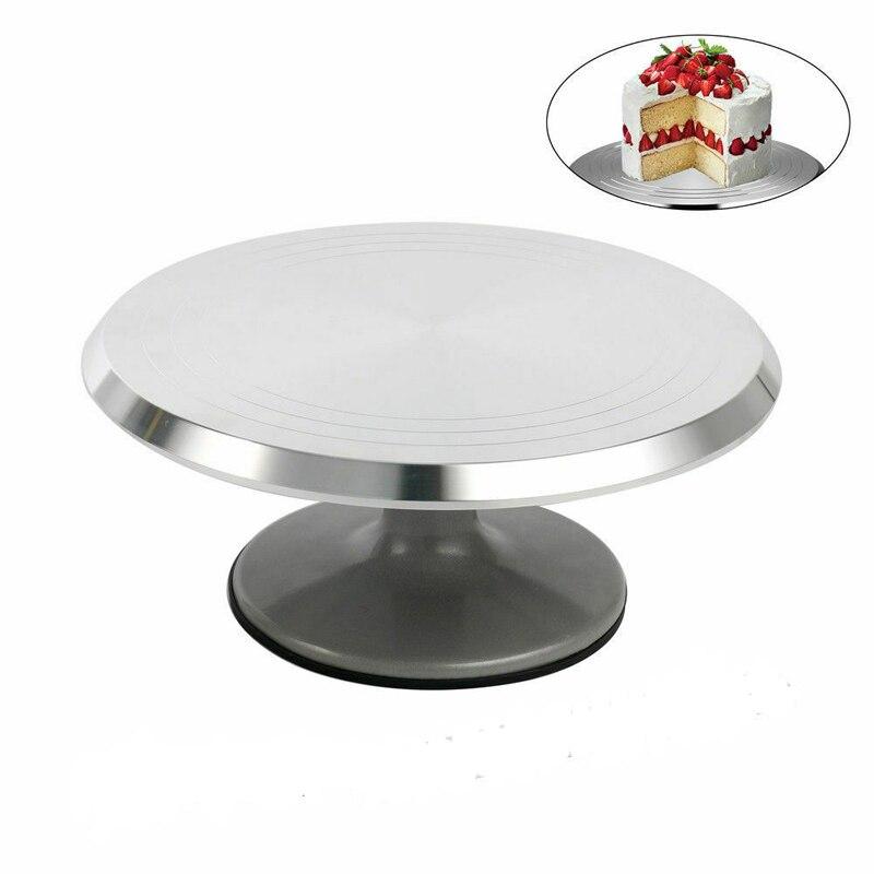 Nouvel outil de cuisson 12 pouces en alliage monté gâteau crème plateau tournant table support base tourner autour décoration métal argenté