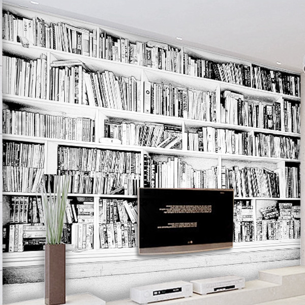 Custom 3d Mural Wallpaper Freehand Sketch Bookshelf 3D Personalized TV Sofa Background Coffee House In Wallpapers From Home