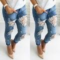 Mulheres Destruído Rasgado Angustiado Magro Calças Jeans Boyfriend Jeans Laço Calças