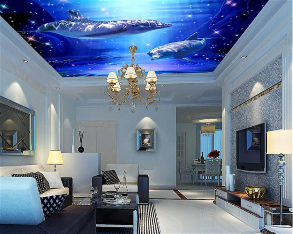 Beibehang Sea World Jellyfish Hall Hall Ceiling Ceiling Murals Wall Custom Large Mural Green Wallpaper Papel De Parede Painting Supplies & Wall Treatments Home Improvement