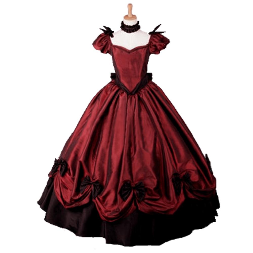 Vin rouge Lolita femmes robe gothique partie Cosplay Maxi longues robes victorienne danse robe de bal