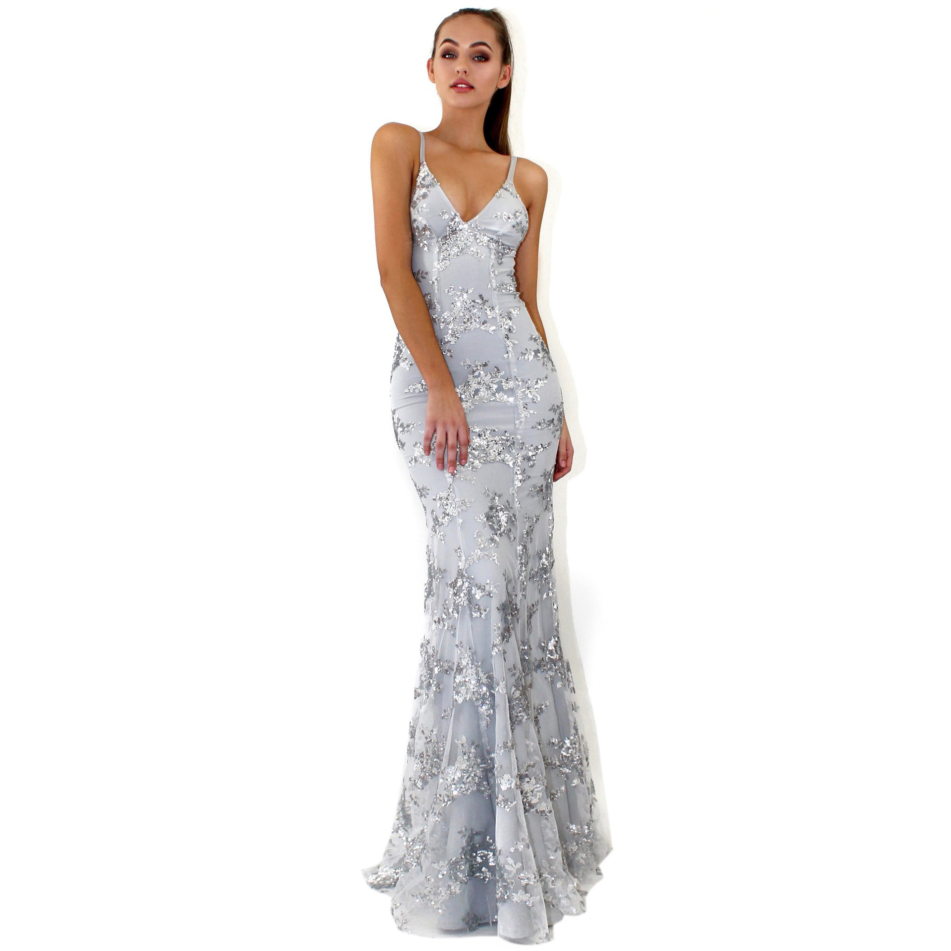 2018 Sexy Silver Sequined Maxi Dress Stretch Floor Length