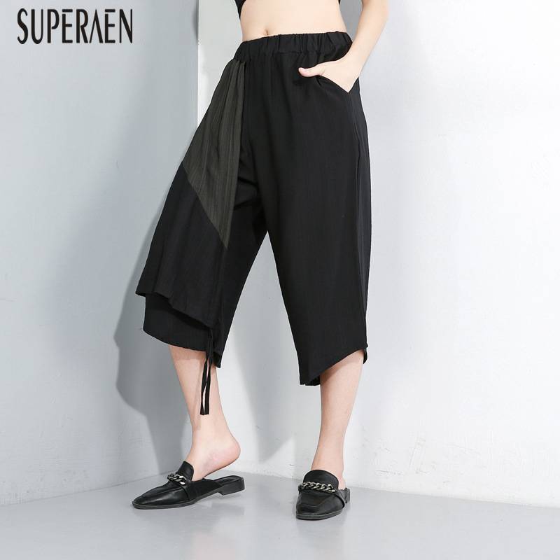 SuperAen Europe Casual   Pants   Women 2019 Summer New Wild Elastic Waist   Wide     Leg     Pants   Female Pluz Size Calf Length   Pants   Women