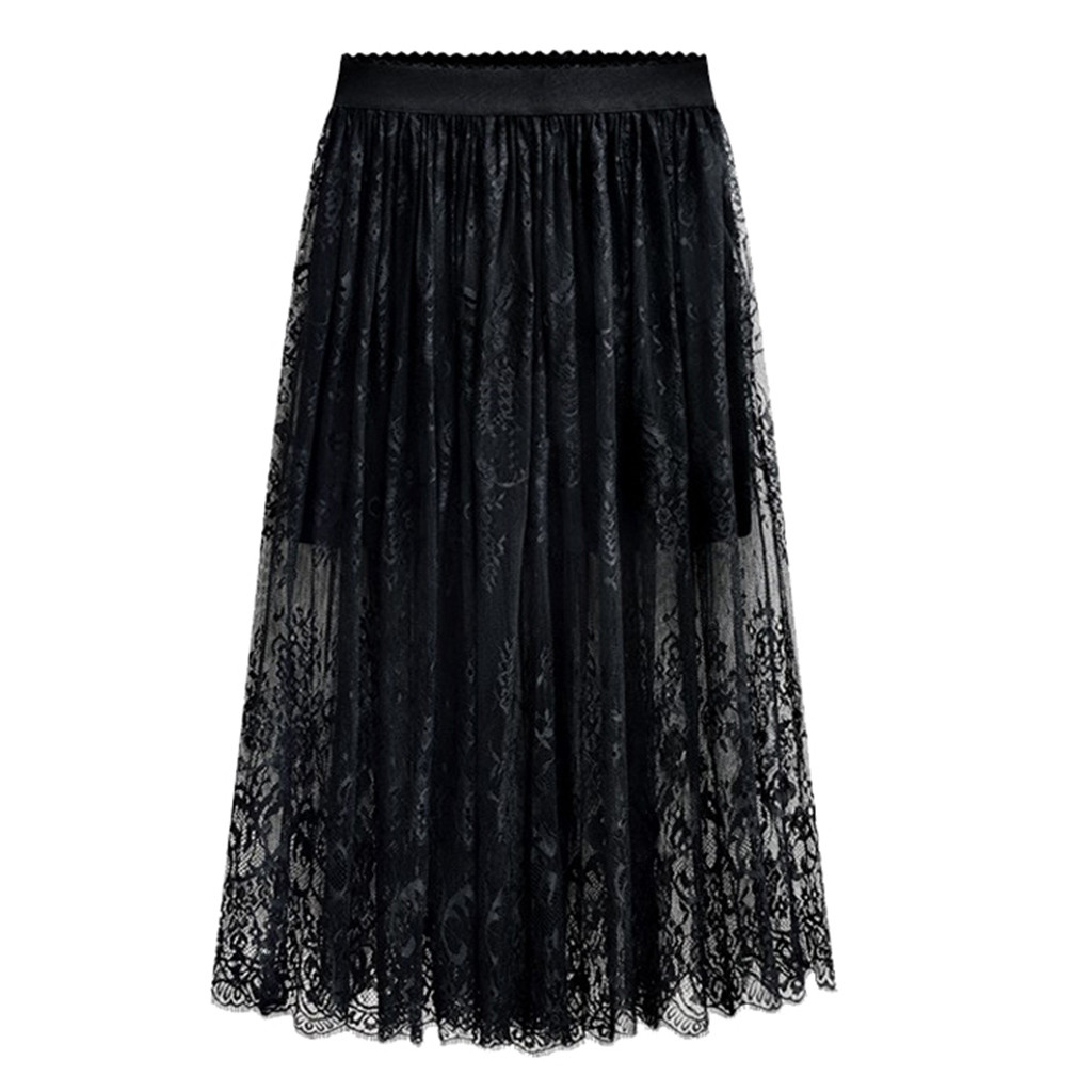 Hot Summer Women Lace Skirts Fashion Solid Casual Long Skirts For Women Hollow Out Elegant Elastic Black Skirt(China)