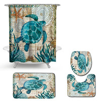 4PCS Sea Style Non Slip Toilet Polyester Cover Mat Set Undersea creature Pattren Bathroom Shower Curtain &s