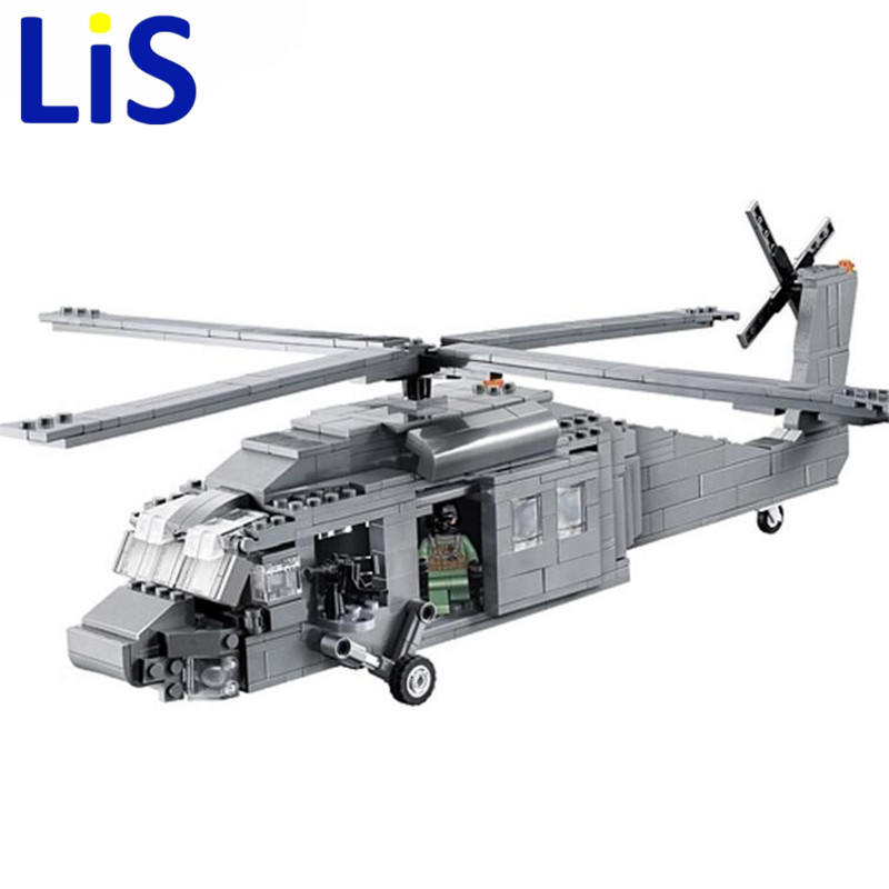 (Lis)562Pcs 2114 BuildingBlocks Military UH-60 BLACK HAWK Plane Airplane Helicopter Bricks Blocks Children Toys decool 2114 building blocks military uh 60 black hawk plane airplane helicopter bricks blocks children toys compatible with lego