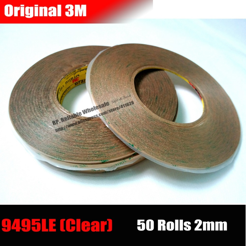 50 Rolls (2mm*50M) 3M 9495LE Super Strong Sticky Waterproof Clear Two Side Adhesive Tape for Cell LCD Glass Touch Panel Digitzer 10m super strong waterproof self adhesive double sided foam tape for car trim scotch