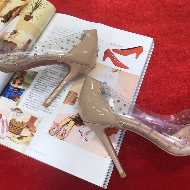 Red Bottom High Heels Wedding Clear Colorful Crystal Pumps Shoes Woman Stiletto Transparent 8CM 10CM Dress Party Famous Brand