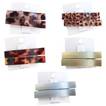 2Pcs Womens Jelly Color Leopard Acetate Duckbill Hair Clip Metallic Long Strip Side Bangs Hairpins Decorative Polished Barrettes