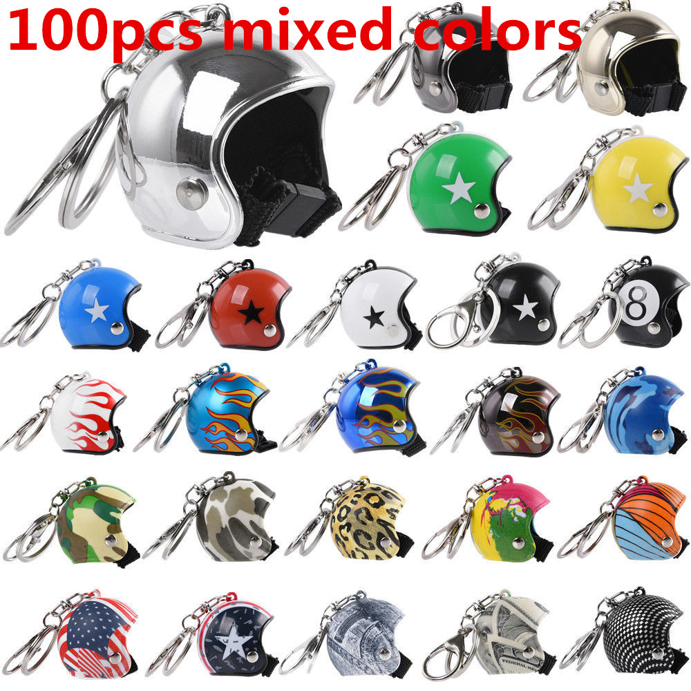 100pcs Mixed Colors Motorcycle Helmet Key Chain Cute Motorbike Keychain Women Car Bag Key Ring Kids