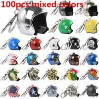 100 шт. разноцветные мотоциклетные брелок в форме шлема милые мотоциклетный брелок Для женщин автомобиль мешок брелок дети Бизнес подарки ук