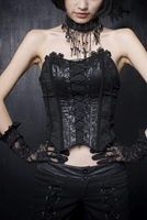 PUNK RAVE Women Gothic Black Embroidery Sexy Tube Tops Fashion Skinny Wrapped Chest with Blets Slim Fit Corset