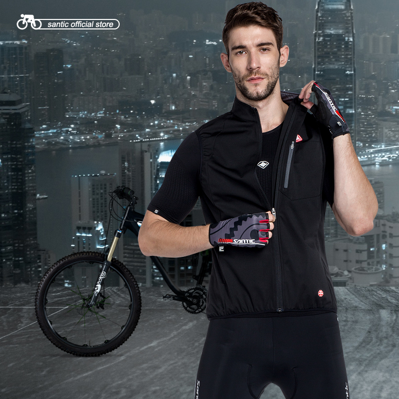 Santic Men Cycling Windproof Vest Reflective Sleeveless Anti sweat Quik Dry Cycling Jackets Riding Vest Asian Size KC6102H