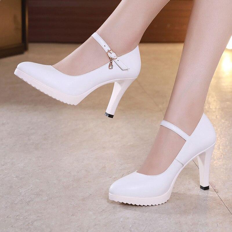 Pointed Toe Block Heels Wedding Shoes Women Pumps Platform 2018 Fall High  Heels Shoes Black Office Shoes Woman 41 42 43 f6e94dd60789