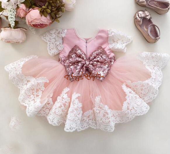 Фотография Knee-length Pink lace tulle Flower Girl Dresses for baby first Birthday Ball Gowns kid prom party frocks dress with bling bow