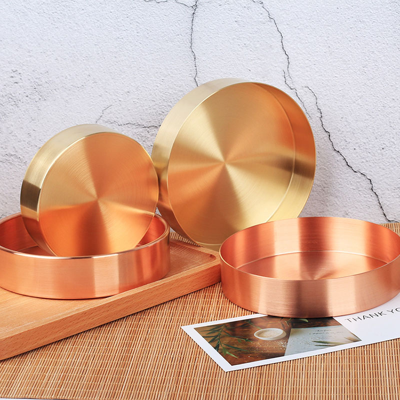 Nordic Copper Round Crimping Storage Tray Desk Metal Storage Organizer Jewelry Organizer Small Items Storage Dishes Home Decor