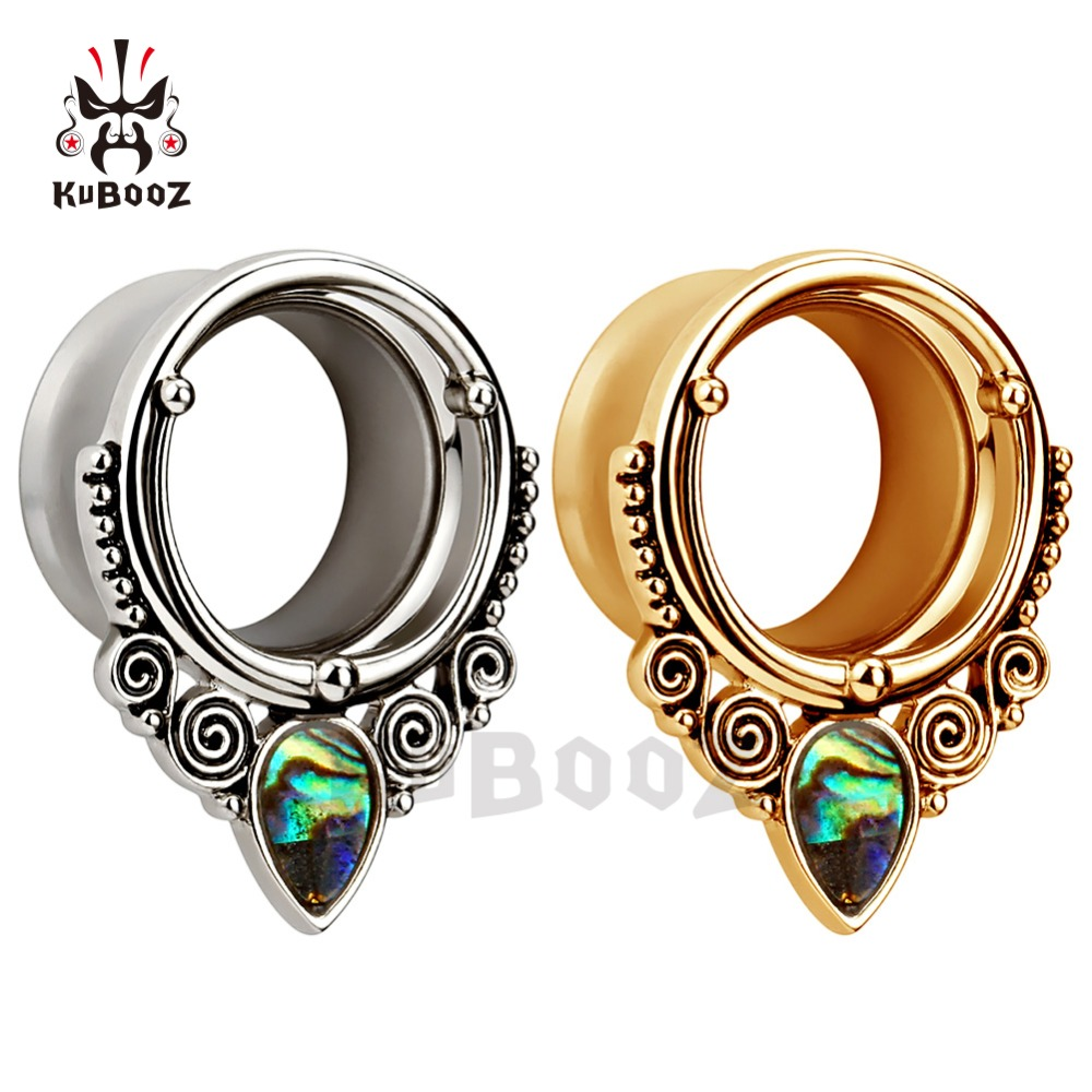 flared stainless steel silver ear tunnels and plugs piercing with shell logo body jewelry mix sizes