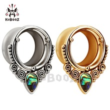 flared stainless steel silver ear tunnels and plugs piercing with shell logo body jewelry mix sizes lot free shipping expander