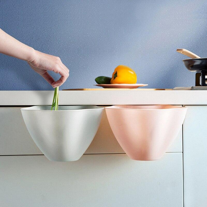 Creative Mini Plastic Trash Can Multifunction Kitchen Utensils Desktop Hanging Garbage Storage Box Waste Bin Food Residue Bucket
