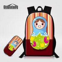 Dispalang 2 Pcs/Set Large Kids Backpack Matryoshka Print Students School Bags and Pencil Case Russian doll Girls Travel Bag