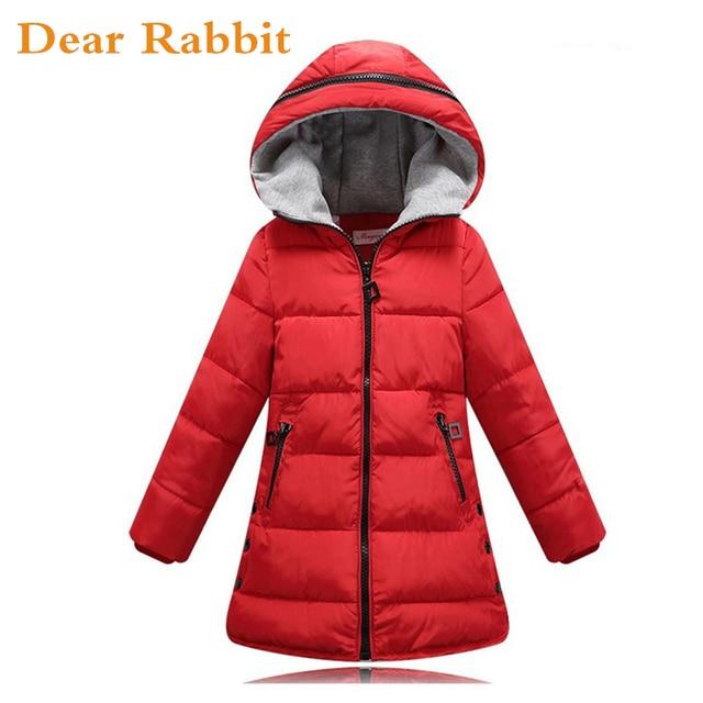 3ca6bd427 2018 primavera chaqueta de invierno para niñas ropa de algodón acolchado  con capucha niños abrigo ropa