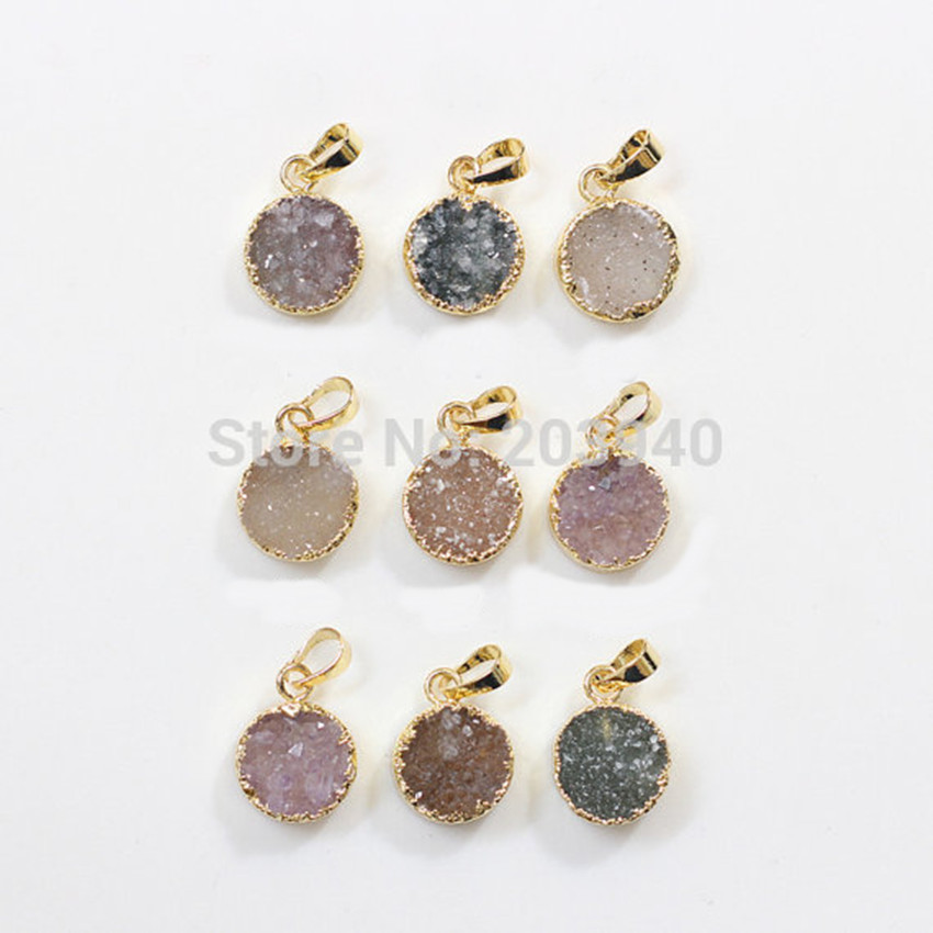 New Wholesale natural round drusy druzy pendants in 24k gold electroplated on edged high quality mini